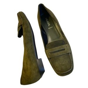 PRADA Olive Green Suede loafers New (Without Box) Size 40 1/2 (10) Vintage